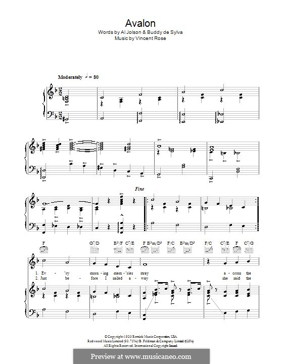 Avalon (Al Jolson): For voice and piano or guitar by Vincent Rose