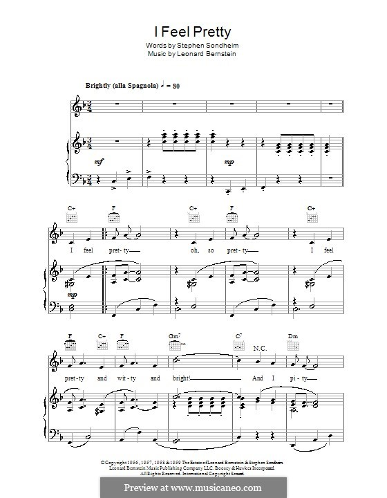 I Feel Pretty (from West Side Story): For voice and piano (or guitar) by Leonard Bernstein