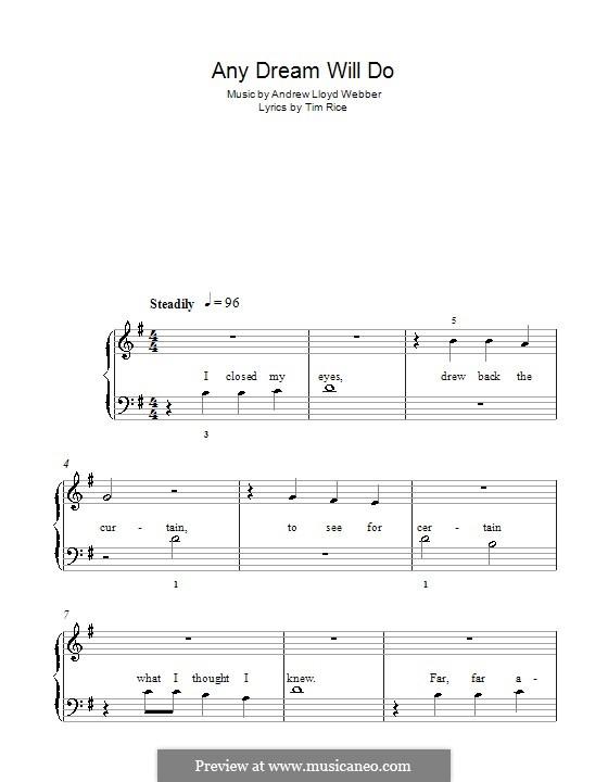 Any Dream Will Do: For easy piano (G Major) by Andrew Lloyd Webber