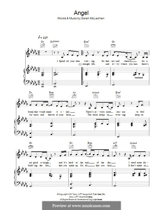 Angel By S Mclachlan Sheet Music On Musicaneo