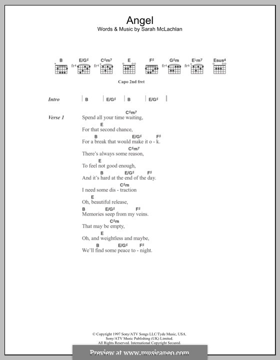 Angel by S. McLachlan - sheet music on MusicaNeo