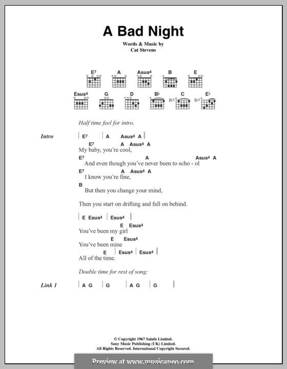 A Bad Night: Lyrics and chords by Cat Stevens