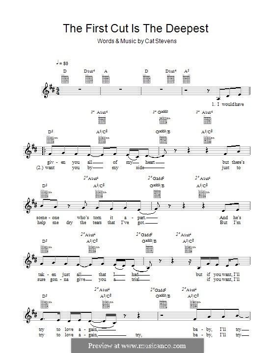 The First Cut Is the Deepest: Melody line, lyrics and chords by Cat Stevens