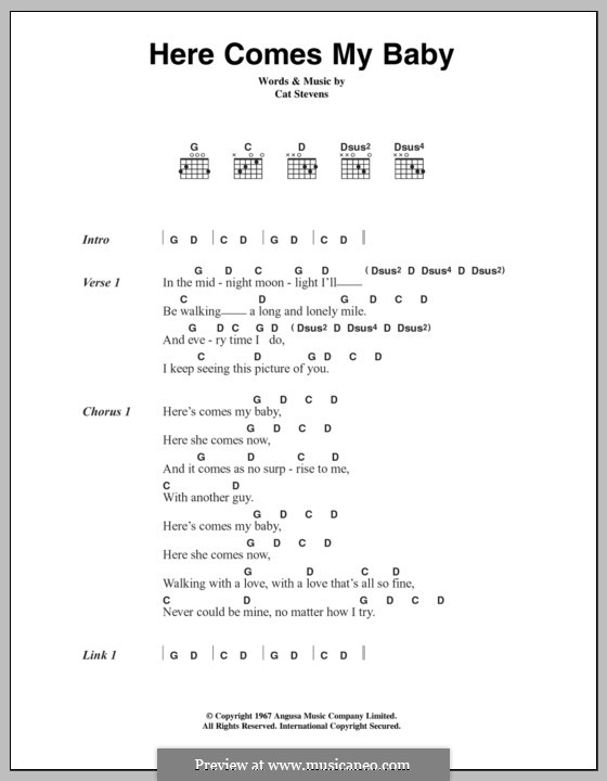 Here Comes My Baby: Lyrics and chords by Cat Stevens