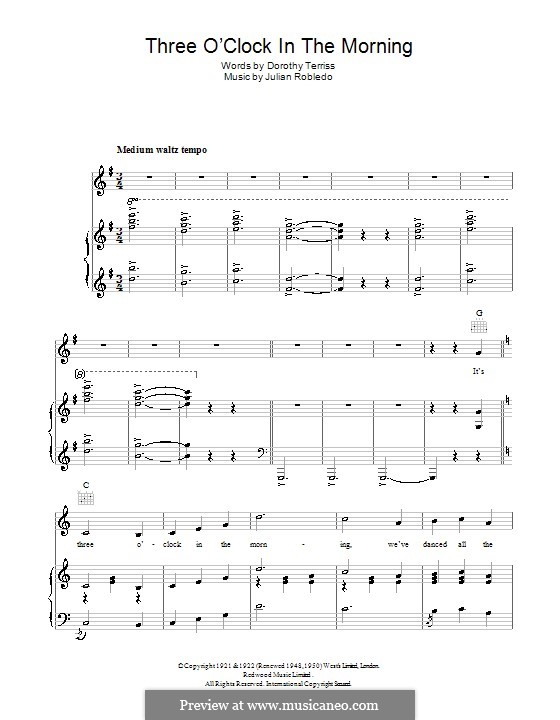 Three O'Clock in the Morning: For voice and piano (or guitar) by Julian Robledo
