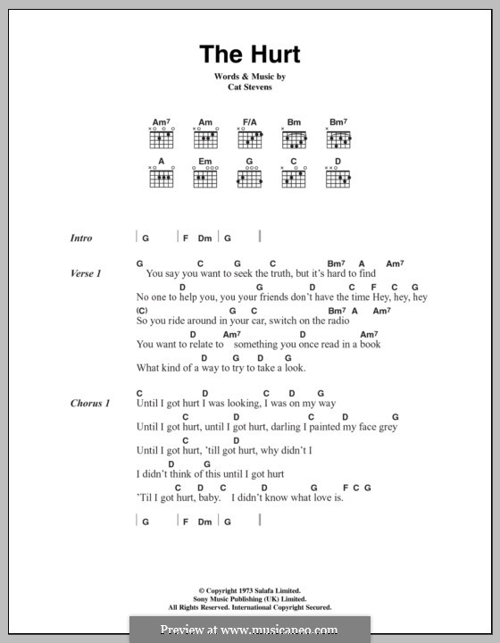 The Hurt By C Stevens Sheet Music On Musicaneo