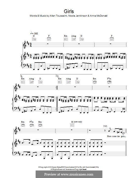 Girls (Sugababes): For voice and piano (or guitar) by Allen Toussaint,  , Nicole Jenkinson