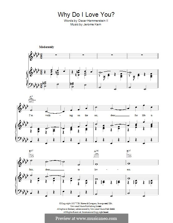 Why do I Love You?: For voice and piano (or guitar) by Jerome Kern