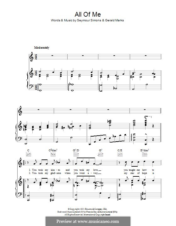 All of Me: For voice and piano (or guitar) by Seymour Simons, Gerald Marks