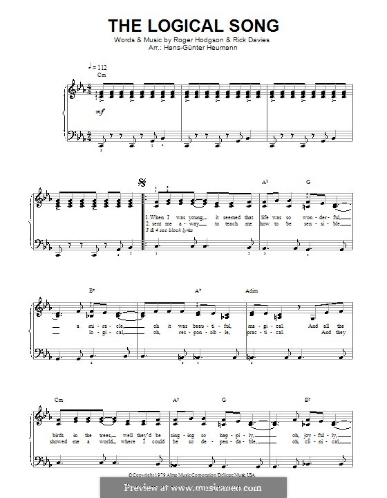 The Logical Song (Supertramp): Piano-vocal score by Rick Davies, Roger Hodgson