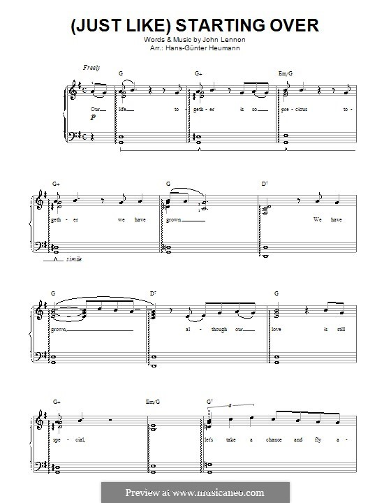 (Just Like) Starting Over: For voice and piano by John Lennon