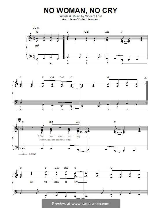 No Woman No Cry (Bob Marley): For voice and piano by Vincent Ford