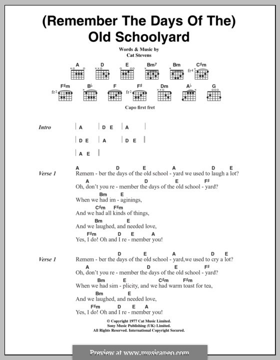 (Remember the Days of the) Old Schoolyard: Lyrics and chords by Cat Stevens