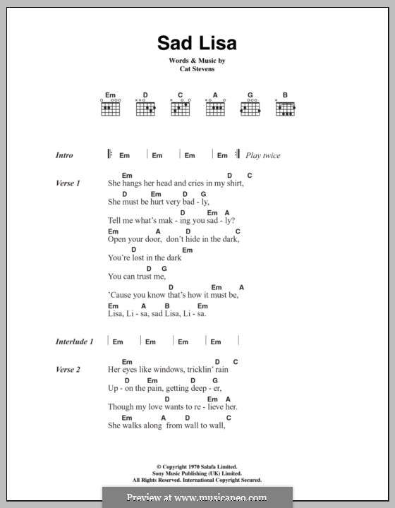 Sad Lisa By C Stevens Sheet Music On Musicaneo
