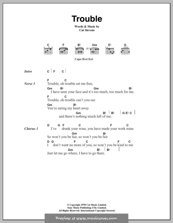 Trouble by C. Stevens - sheet music on MusicaNeo