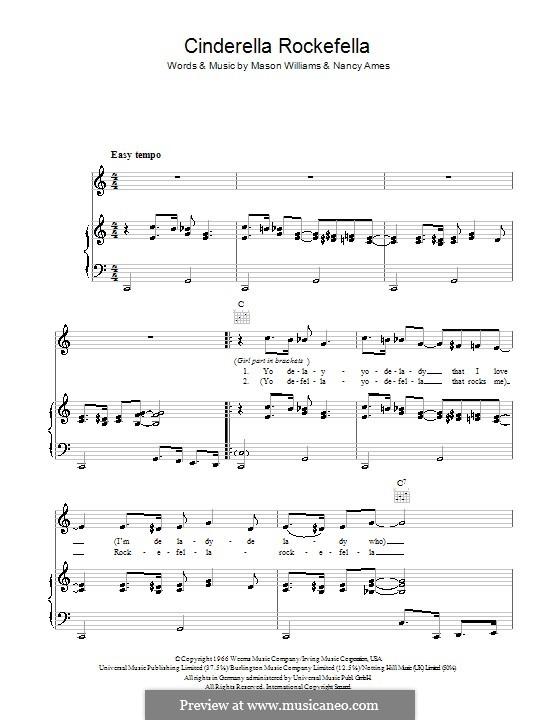 Cinderella Rockefella (Esther & Abi Ofarim): For voice and piano (or guitar) by Mason Williams, Nancy Ames