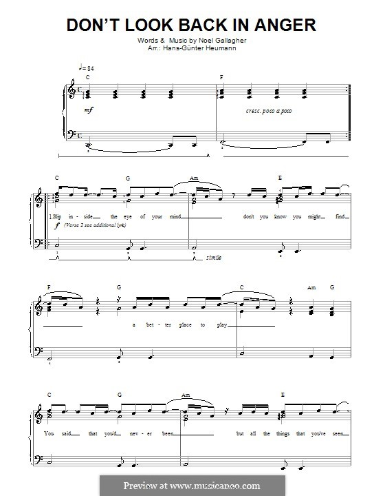 Don't Look Back in Anger (Oasis): For voice and piano by Noel Gallagher