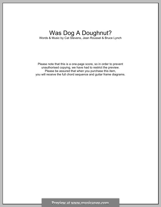 Was Dog a Doughnut?: Lyrics and chords by Bruce Lynch, Jean Roussel