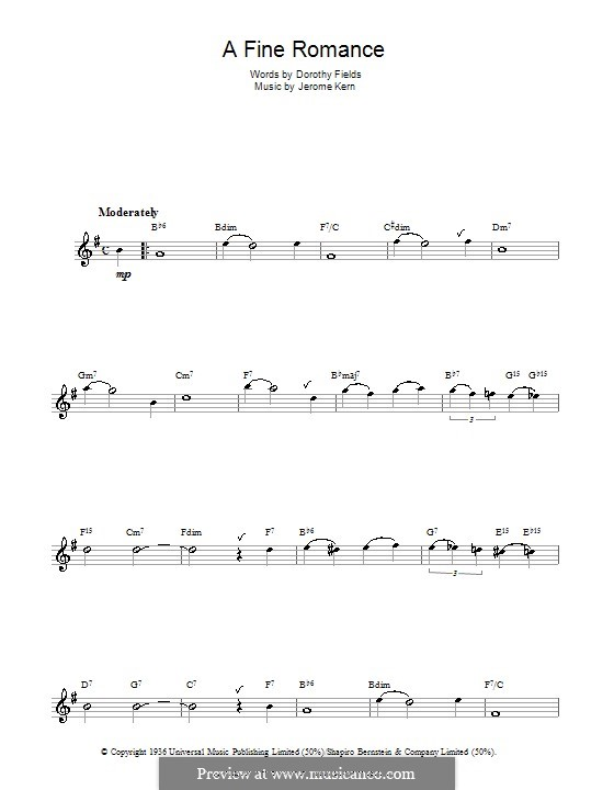 A Fine Romance: For saxophone by Jerome Kern