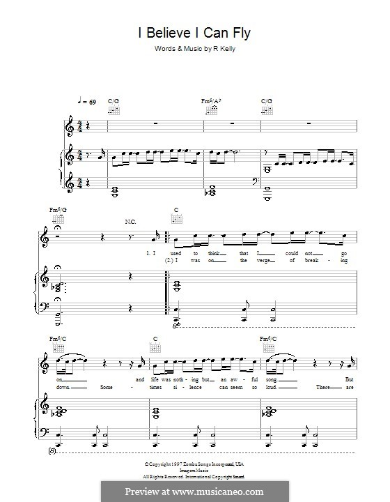 I Believe I Can Fly: For voice and piano (or guitar) by Robert Kelly
