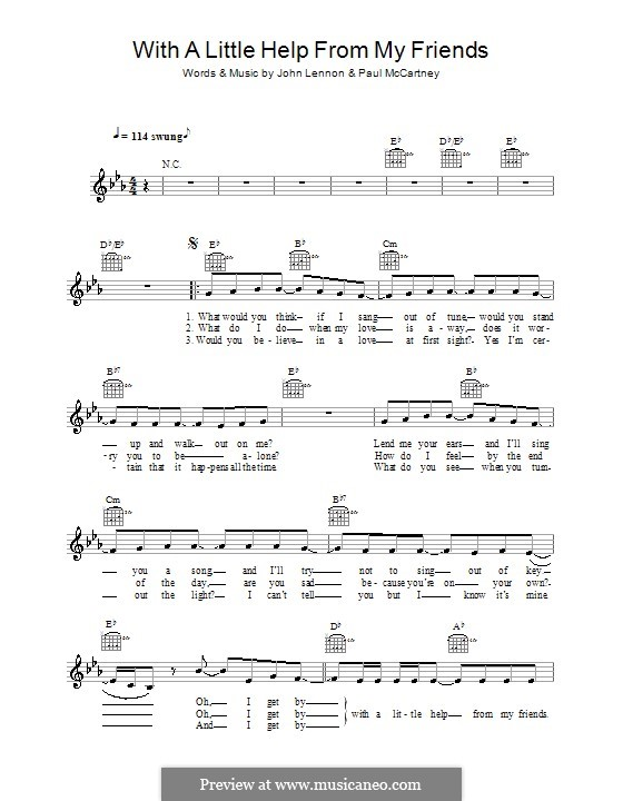 With a Little Help from My Friends (The Beatles): Melody line, lyrics and chords by John Lennon, Paul McCartney