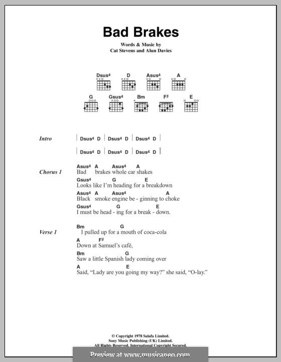 Bad Brakes: Lyrics and chords by Alun Davies