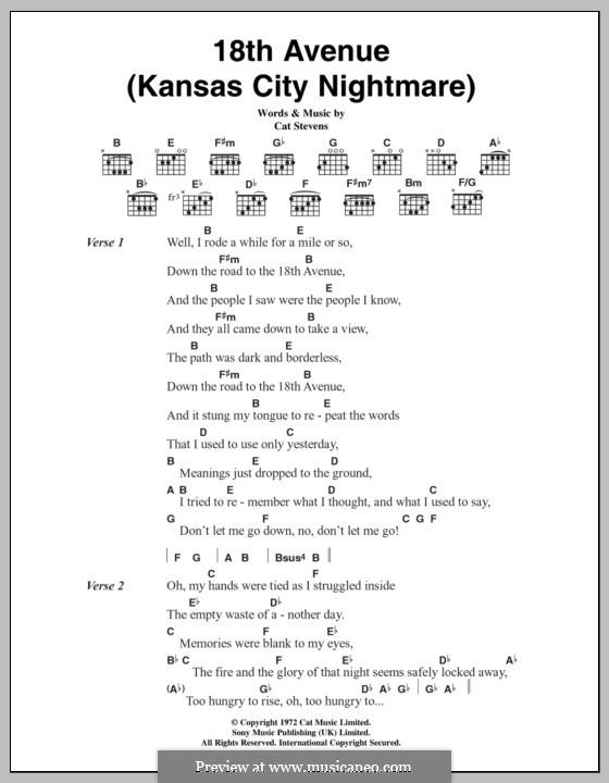 18th Avenue (Kansas City Nightmare): Lyrics and chords by Cat Stevens