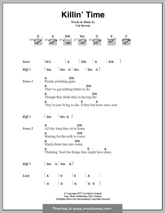 Killin' Time: Lyrics and chords by Cat Stevens