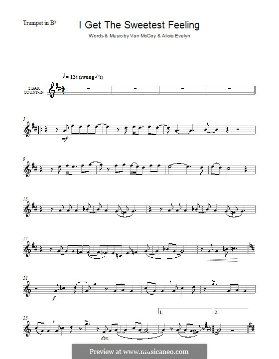 I Get the Sweetest Feeling (Jackie Wilson): For trumpet by Alicia Evelyn, Van McCoy