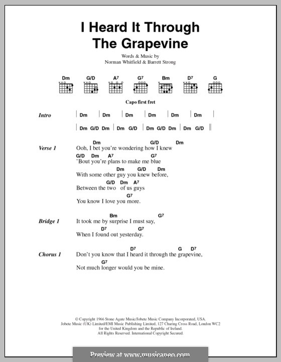 I Heard it Through the Grapevine: Lyrics and chords (Marvin Gaye) by Barrett Strong, Norman J. Whitfield
