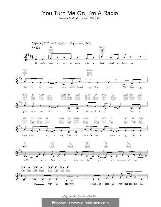 You Turn Me On Im A Radio By J Mitchell Sheet Music On Musicaneo