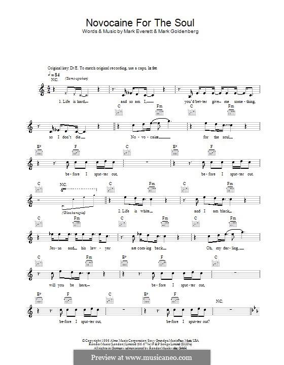 Novocaine for the Soul (Eels): Melody line, lyrics and chords by Mark Everett, Mark Goldenberg