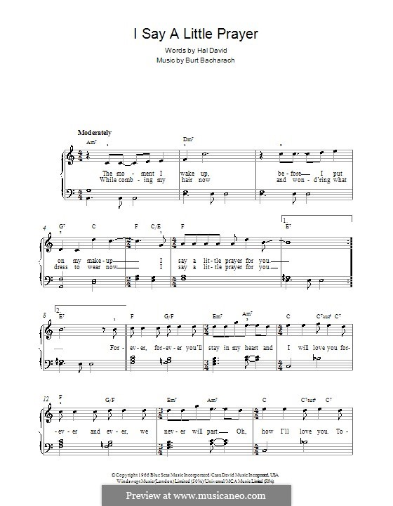 I Say a Little Prayer: For easy piano by Burt Bacharach