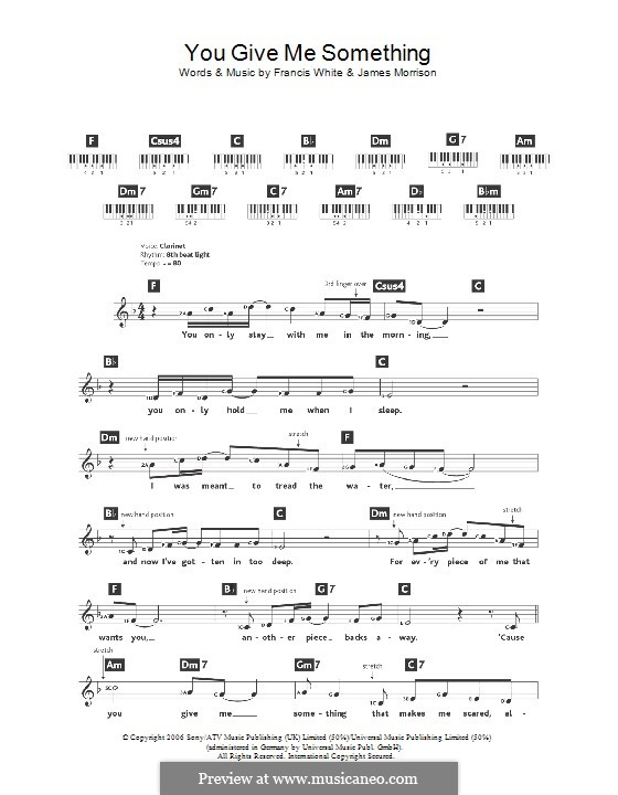 You Give Me Something: For keyboard by Eg White, James Morrison