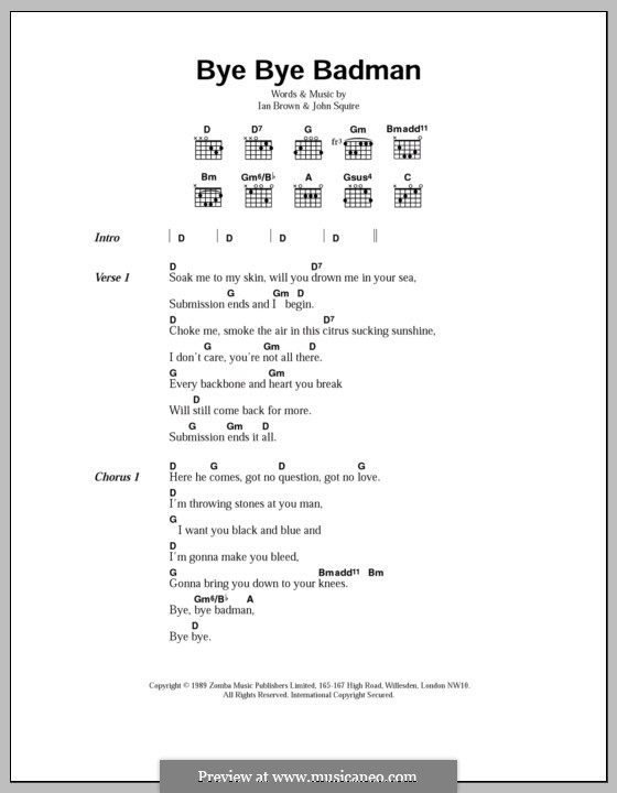 Bye Bye Badman (The Stone Roses): Lyrics and chords by Ian Brown, John Squire