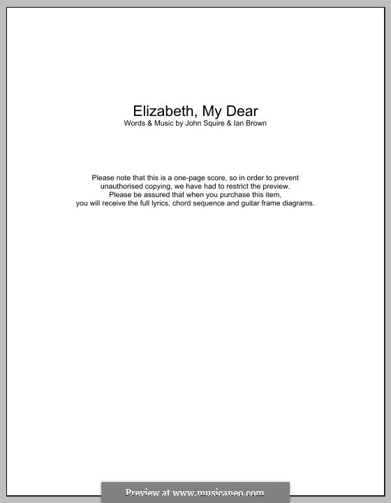 Elizabeth My Dear (The Stone Roses): Lyrics and chords by Ian Brown, John Squire