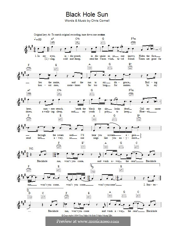 Black Hole Sun (Soundgarden): Melody line, lyrics and chords by Chris Cornell