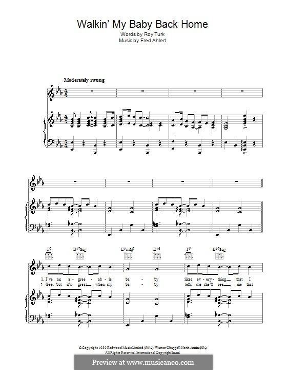 Walkin' My Baby Back Home (Nat King Cole): For voice and piano (or guitar) by Roy Turk, Fred E. Ahlert