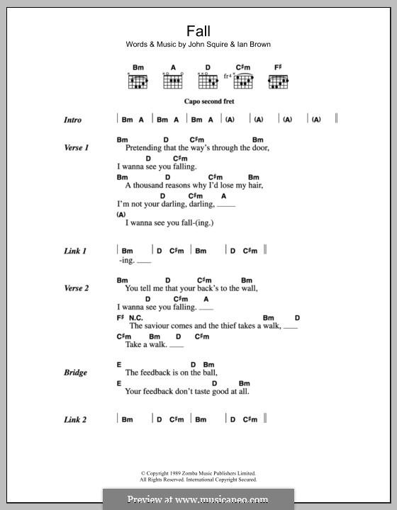 Fall (The Stone Roses): Lyrics and chords by Ian Brown, John Squire