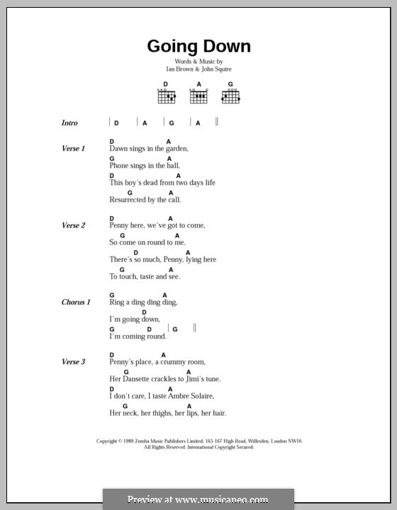 Going Down (The Stone Roses): Lyrics and chords by Ian Brown, John Squire