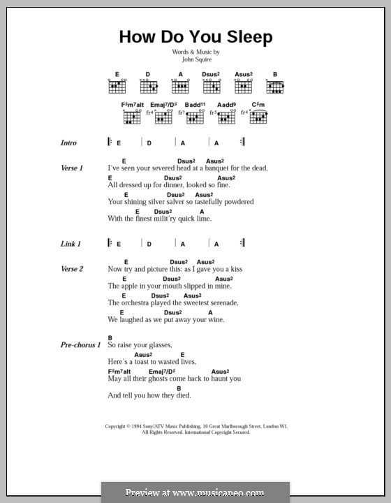 How Do You Sleep (The Stone Roses): Lyrics and chords by John Squire