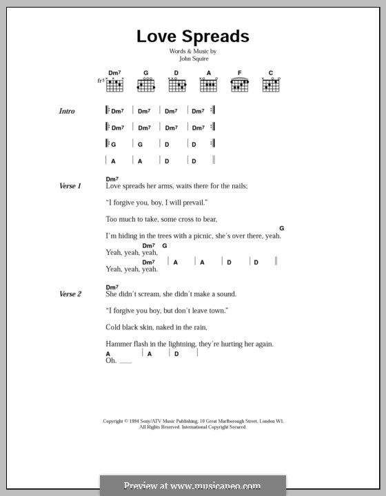 Love Spreads (The Stone Roses): Lyrics and chords by John Squire