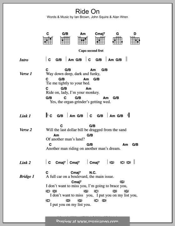 Ride On (The Stone Roses): Lyrics and chords by Alan Wren, Ian Brown, John Squire