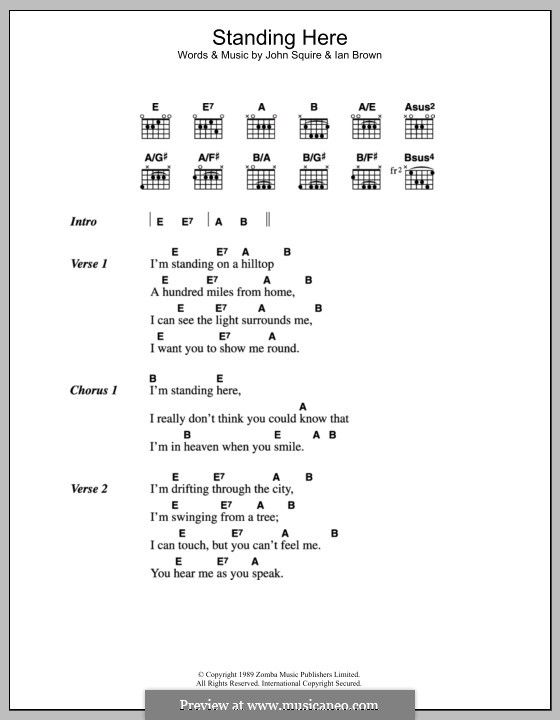 Standing Here (The Stone Roses): Lyrics and chords by Ian Brown, John Squire