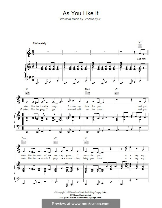 As You Like It (Adam Faith): For voice and piano (or guitar) by Les Vandyke