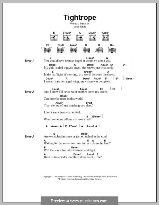 Tightrope (The Stone Roses): Lyrics and chords by John Squire