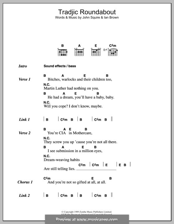 Tradjic Roundabout (The Stone Roses): Lyrics and chords by Ian Brown, John Squire