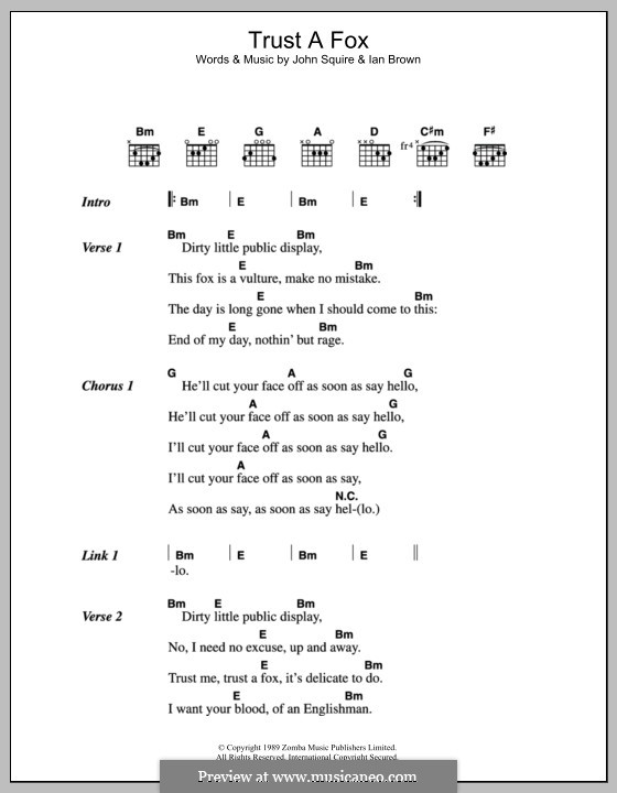 Trust a Fox (The Stone Roses): Lyrics and chords by Ian Brown, John Squire
