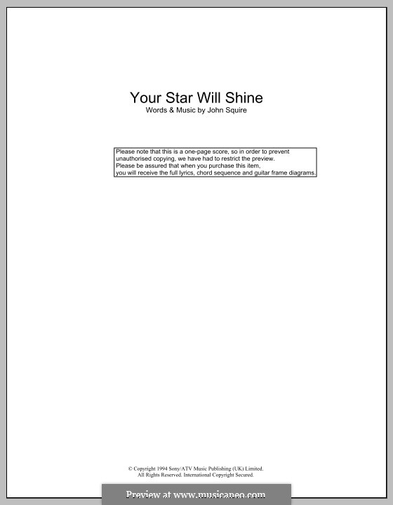 Your Star Will Shine (The Stone Roses): Lyrics and chords by John Squire