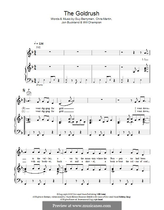 The Goldrush (Coldplay): For voice and piano (or guitar) by Chris Martin, Guy Berryman, Jonny Buckland, Will Champion